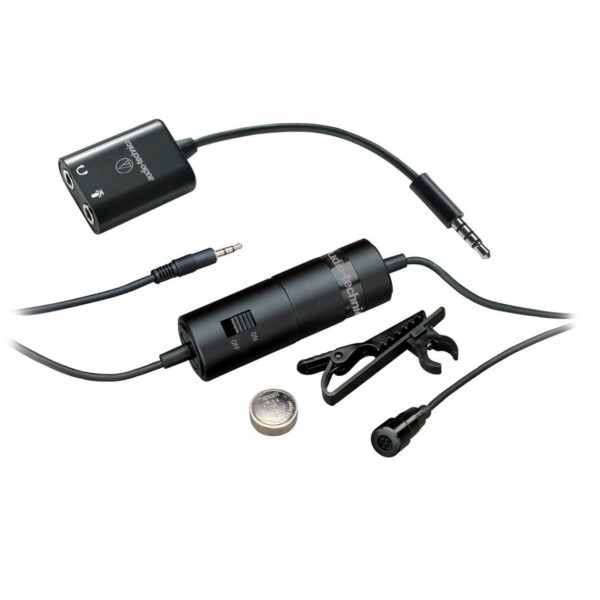 Audio-Technica ATR-3350IS Omnidirectional Condenser Lavalier Microphone for Smartphones