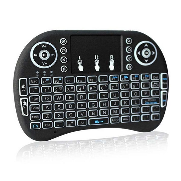 i8 Backlit Mini Wireless Keyboard Touchpad Combo - Black