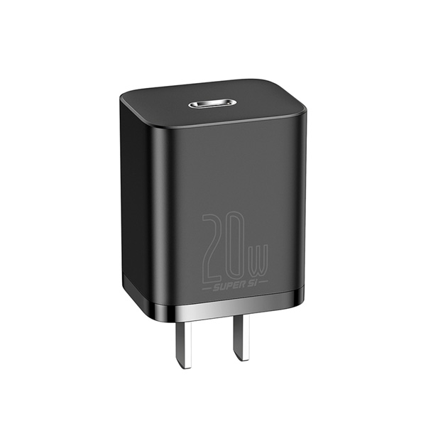 Baseus 20W PD Super Si Quick Charger With USB C to Lightning Cable 1M (TZCCUP-A01) - Black