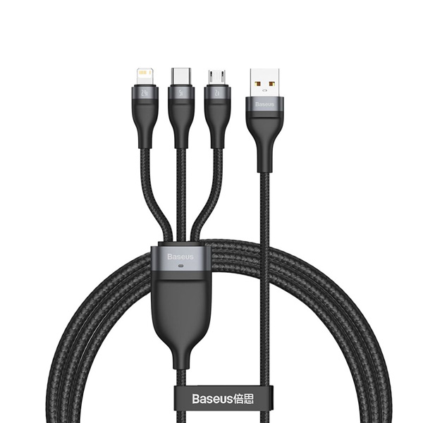 Baseus One-for-Three 5A Fast Charging Data Cable USB to M+L+C 1.2M (CA1T3-G1) - Black