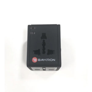 Baykron Universal World Travel Adapter With 2 USB Charger 2.1A - Black