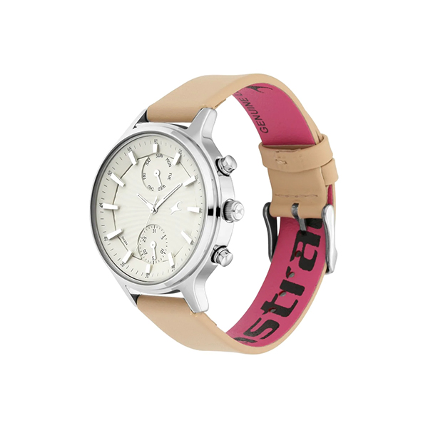 Fastrack 6208SL01 Ruffles Bage Dial Leather Strap Women's Watch (2)
