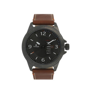 TITAN NM1701QL01 Anthracite Dial Brown Leather Strap Watch