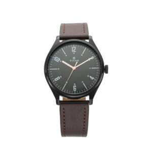 Titan NM1802NL01 Workwear Watch with Black Dial & Brown Leather Strap